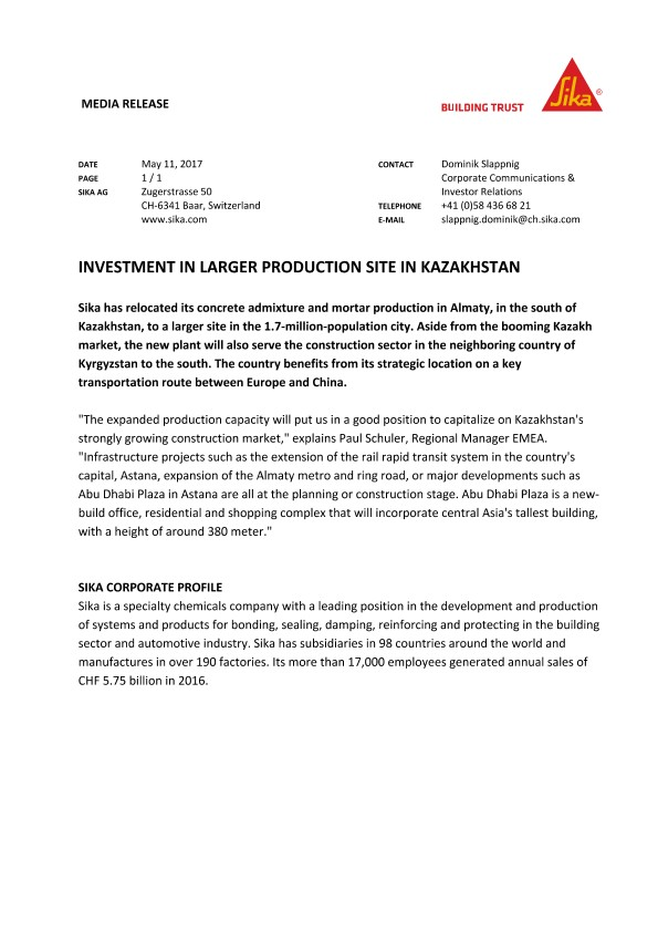 Investment in Larger Production Site in Kazakhstan