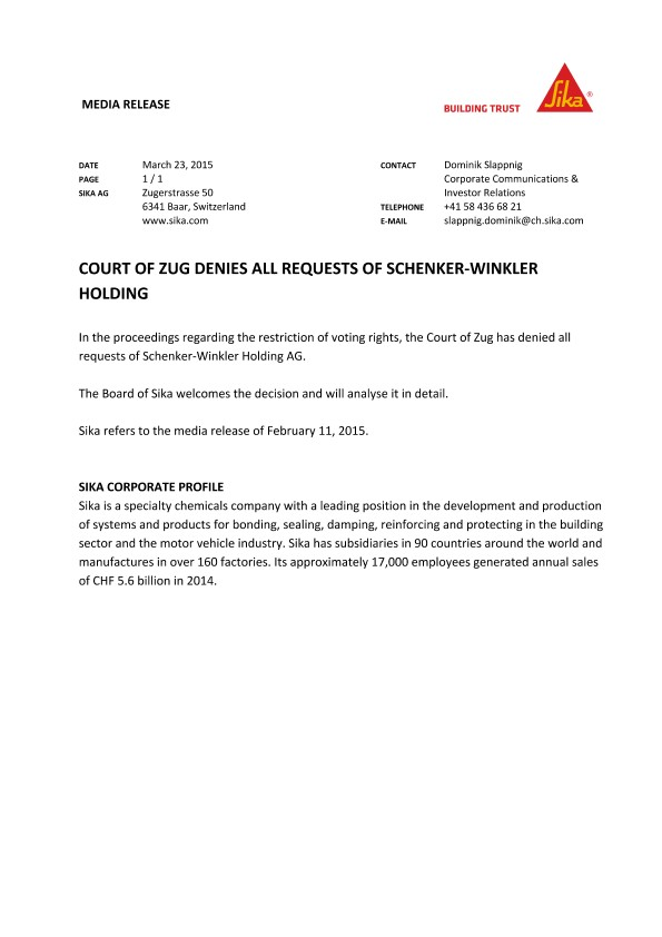 Court of Zug Denies all Requests of Schenker-Winkler Holding