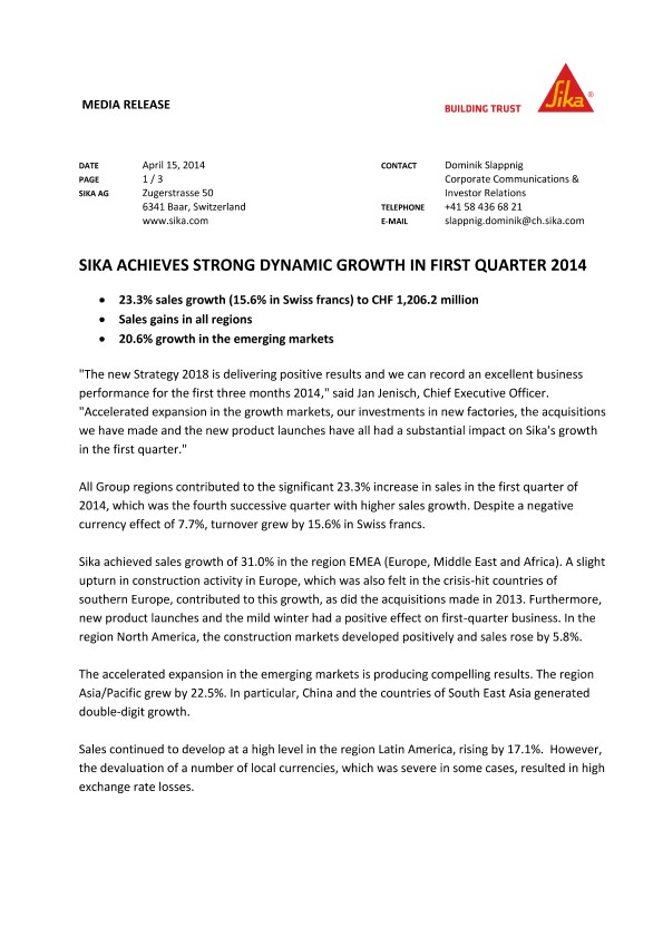 Sika Achieves Strong Dynamic Growth in First Quarter 2014