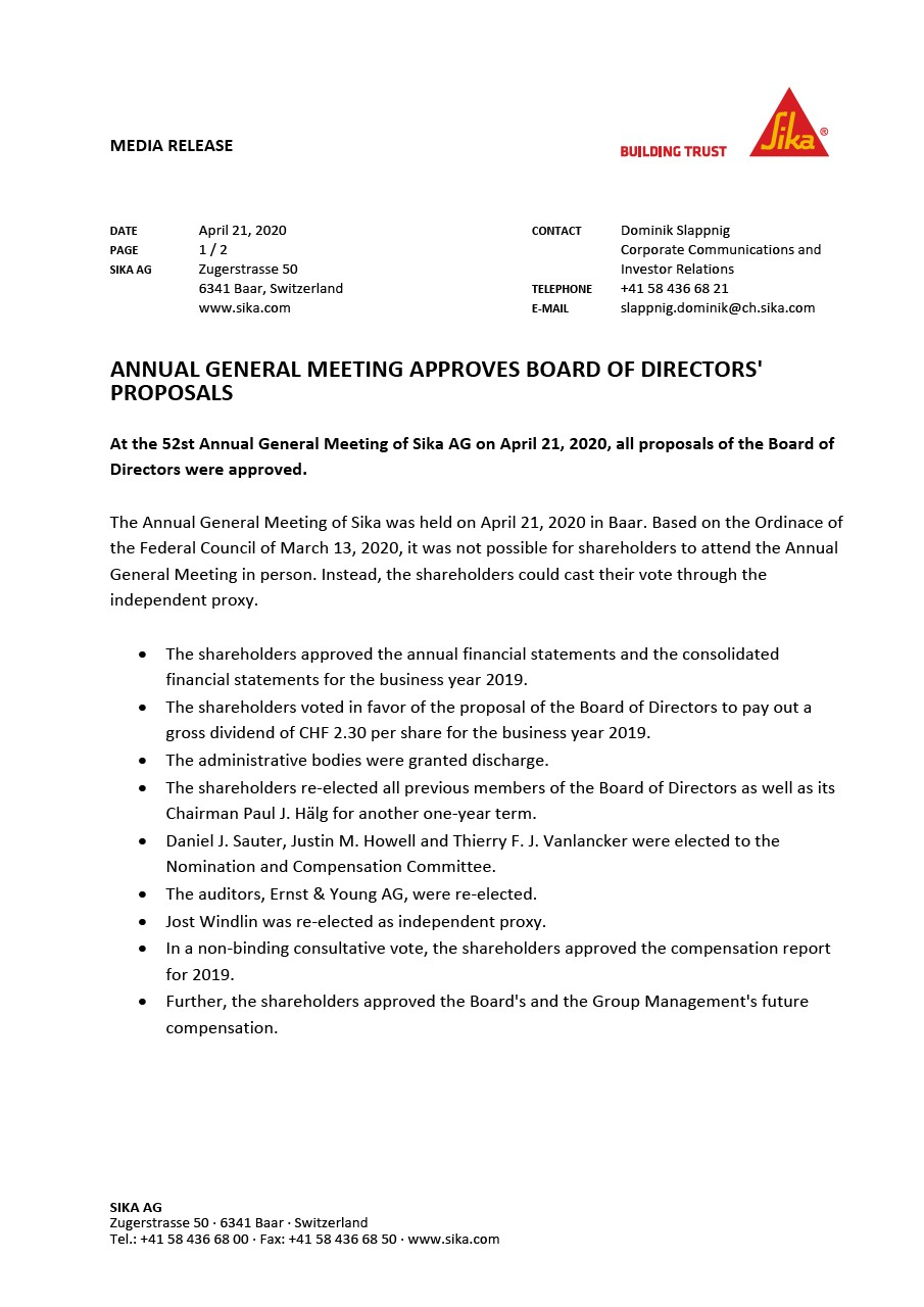 Annual General Meeting Approves Board of Directors' Proposals - April 2020
