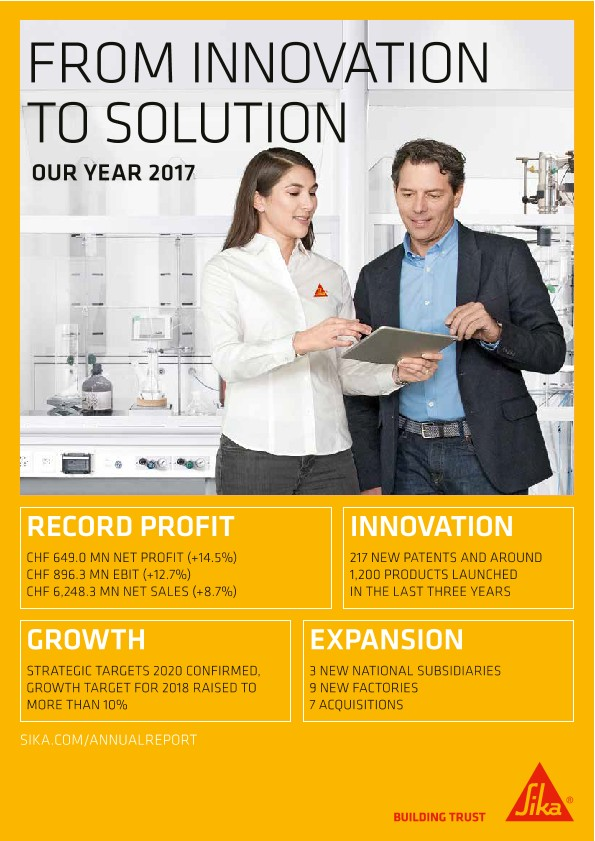 From Innovation to Solution - Sika Annual Magazine 2017