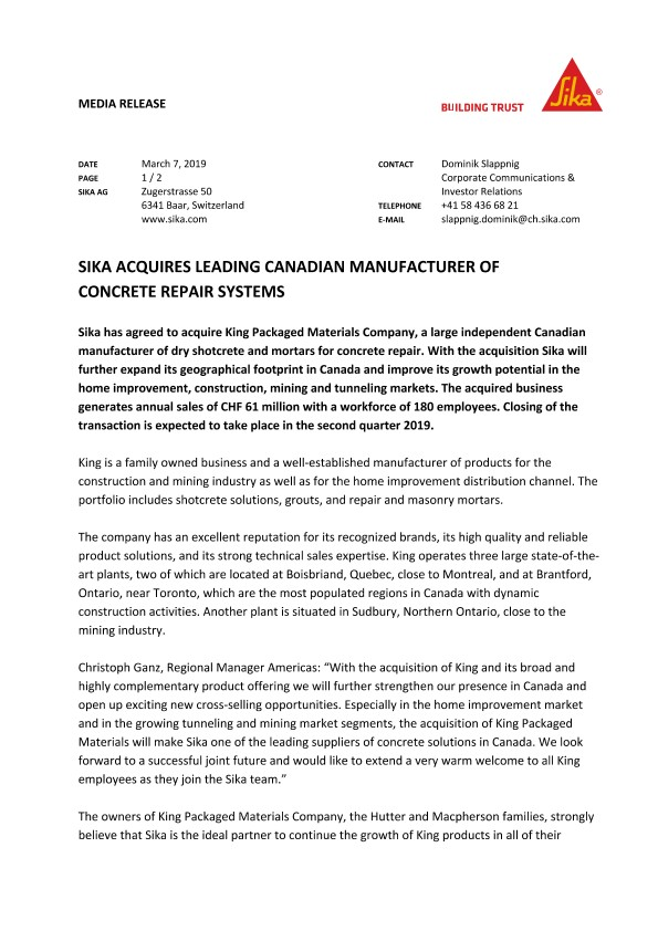 Sika Acquires Leading Canadian Manufacturer of Concrete Repair Systems